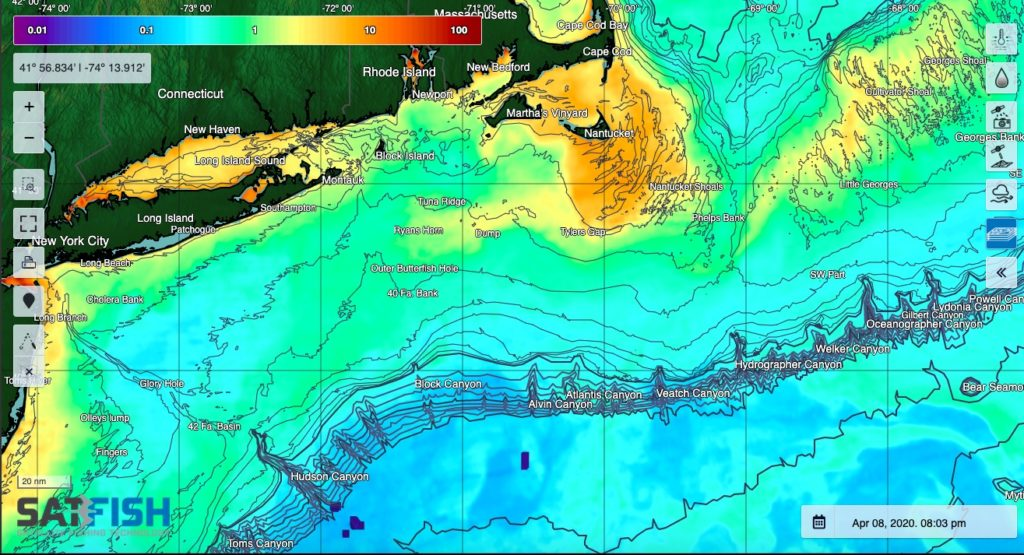 SatFish Northeast Canyons Offshore Fishing Chlorophyll concentration maps